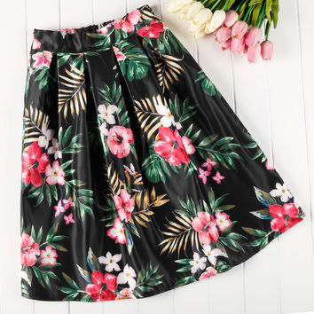 Big Flower Print High Waist Pleated Clubwear Skirt