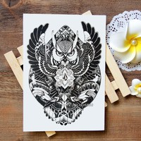 Waterproof Temporary Tattoo Sticker owl and feather tattoo Water Transfer Flash Tattoo fake tattoo for women men kids #398