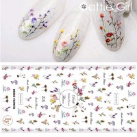 1 Sheet Dry Flowers Leaves 3D Nail Art Transfer Stickers Nail Design Water Marble Moon Nail Accessories for Nail Decorations