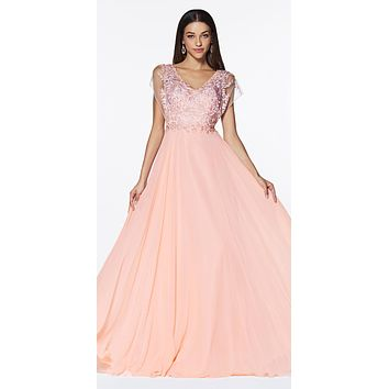 A-Line Chiffon Gown Blush With Lace Bodice And Flutter Sleeve