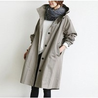 Johnature 2019 New Solid Color Casual Korean Hooded Collar Loose Autumn Winter Women Trench Plus Size Simple Women Coats