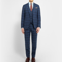 Thom Sweeney - Navy Mount Street Checked Cotton Three-Piece Suit | MR PORTER