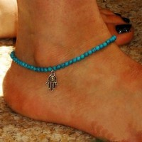 Fashion Anklet Boho Beads Hamsa Fatima Anklets Foot Chain Beach Jewelry = 5658262657
