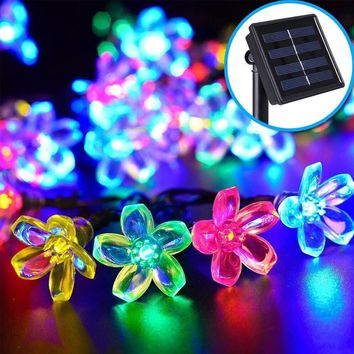 2017 Hot Sale 7m 50 LEDs Peach Flower Solar Light Romantic LED String Lamp Outdoor Lighting For Christmas Wedding Birthday Decor