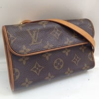Auth Louis Vuitton Monogram Pochette Florentine Waist Bag Pouch Brown 8A240040#