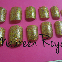 Gold Glitter Fake Nails