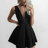 Black Deep V Neck Homecoming Dress, Strapless Short Homecoming Dress