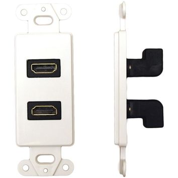DataComm Electronics 20-4502-WH Decor Wall Plate Insert with 90deg Dual HDMI(R) Connector