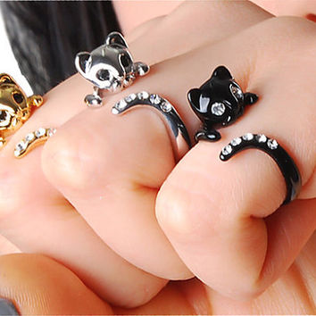 VALENTINE's day SALE- Buy 2 Get 1 Free & 15% Coupon Code for all Shops items - Only This Week - Beautiful Swarovski Crystal Cat Ring