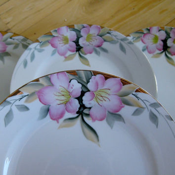 Circa 1918 Noritake Azalea Dinner Plates Set of 4 Good to Very Good TWO sets available