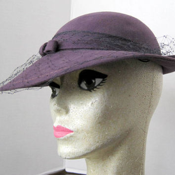 Vintage Purple Wool Hat Betmar with Black Veil