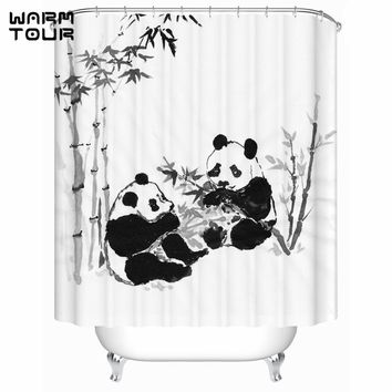 Chinese Classical Ink Painting Panda Bamboo Shower Curtains Waterproof Accessories Bath Curtains Bathroom Products WTC184