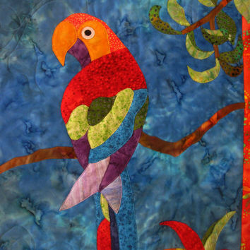 Art Quilt Wall Hanging Applique Tropical Sizzle Parrot Batik Orange Blue Green