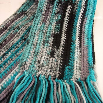 Soft and Warm Dark Green Tie Dyed Hand Crocheted Scarf with Hand Tied Fringe, Winter Accessories