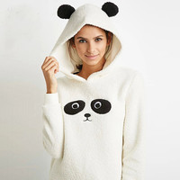 Panda Hooded Fleece Sweater in Ivory