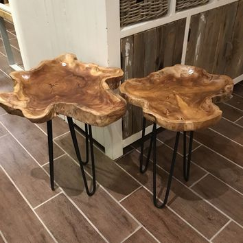 Teak and Hairpin Leg Side Table
