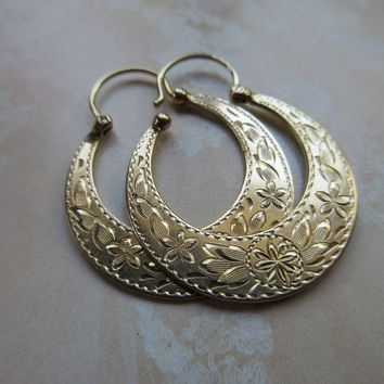 Antique 14K Engraved Hoop Pierced Earrings