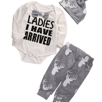 Christmas Set ! 2016 Autumn style infant clothes baby clothing sets Romper+Deer Pants +hat 3pcs suit baby boy clothes newborn