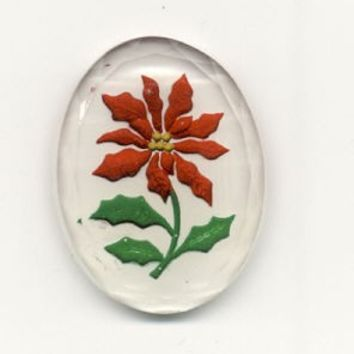 2 Vintage W German Reverse Painted Poinsettia Cabs 40x30mm Glass