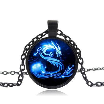 ZBOZWEI Blue Dragon Necklace 3 colors Handmade glass Mythical Chinese dragon art Photo Necklace Charm Fantasy Dragon Jewelry