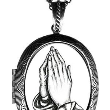 "Praying Hands Huge 2 1/2"" Solid Perfume Locket Pendant Antique Silver"