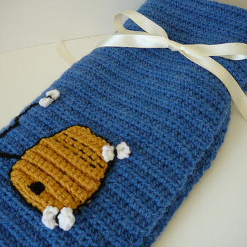 Baby Boy Or Girl Afghan Blanket Denim Blue Honey Pot and Bees Crochet Applique Gift