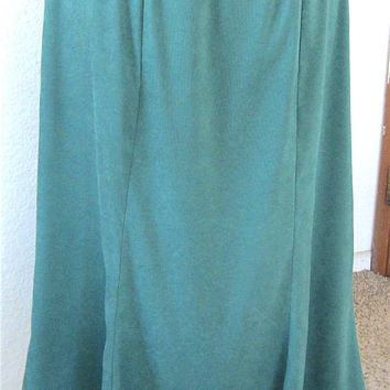 Vintage 90's Handmade Green Moleskin Tulip Skirt, Below the Knee Skirt Comfortable Functional Ladies Fashion Classic Style Work Wear Gift