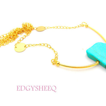 Gold plated Turquoise Necklace, Gold Tube Long Layering Necklace, Earth tone Necklace, Modern Tribal Howlite Necklace