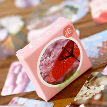 Japanese Style Love of Flower Label Stickers Decorative Stationery Stickers Scrapbooking DIY Stickers Diary Album Stick Lable