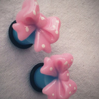 00g 10mm Baby Pink Bow Plugs Gauges kawaii sweet by Glamsquared