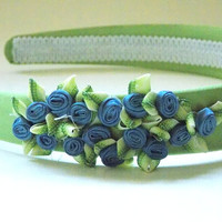 Sage Green Satin Headband with Blue and Green Flowers