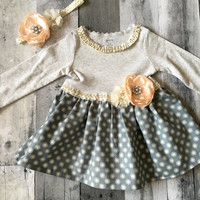 Baby girl long sleeved polka dotted dress, size 12 month baby girl dress, fall dress, winter dress, photo shoot dress, matching headband
