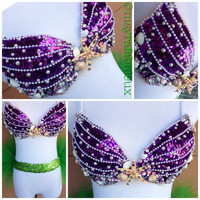 Ariel The Little Mermaid Inspired Rave Bra - Mayrafabuleux Original Design