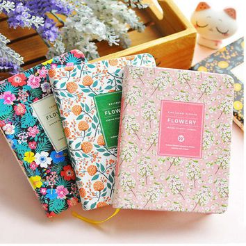DCCKL72 New Arrival Cute PU Leather Floral Flower Schedule Book Diary Weekly Planner Notebook School Office Supplies Kawaii Stationery