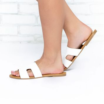 Greece White Leather Sandals