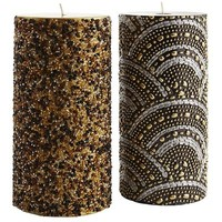 Black & Metallic Beaded Pillars