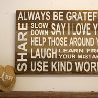 Family Rules Wood Sign Reclaimed Wood Sign Rustic Wood Sign Family Room Sign Rustic Chic Decor Wood Pallet Sign Vintage Primitive Wall Decor