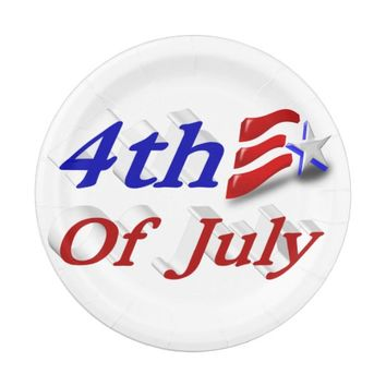 4th of July Star & Stripes 3D Hat Paper Plates