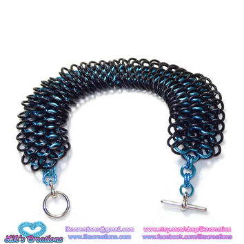Carolina Panthers Dragonscale Bracelet - Artisan Chainmaille