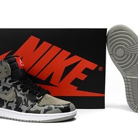 Air Jordan 1 Camo Black Gray Basketball Shoes Us7 12 | Best Deal Online
