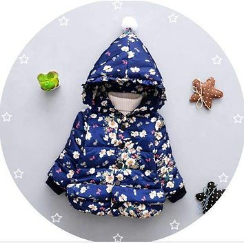 Girls Floral Print  Hooded Puffer Jacket