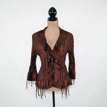 Brown Blouse Satin Top Hippie Bohemian Clothing Boho Gypsy Beaded Top Crinkle Button Up Bell Sleeve 3/4 Dressy Top Medium Womens Clothing