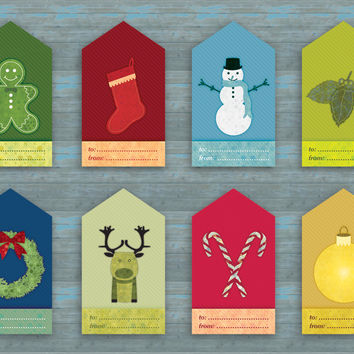 Christmas Gift Tags, digital c, 2 x 3.5 printable diy hang tags for holiday present wrapping, rectangle shape, Buy 2 Get 1 Free
