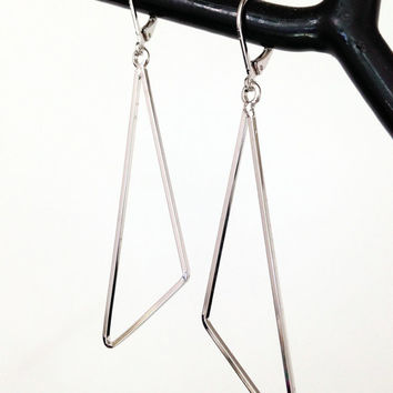 Silver Triangle Earrings Geometric Earrings Minimalist Earrings Long Dangle Earrings Women's Earrings