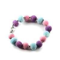 Cute Fairy Kei Pastel Pom Pom Bracelet Pink Purple and Teal