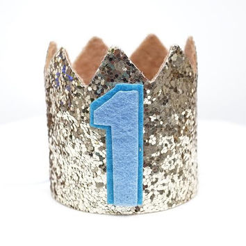 Gold Glitter Sparkles Blue 1st Birthday Boy Hat Party Crown Toddler 1 Birthday Decor Photo Prop