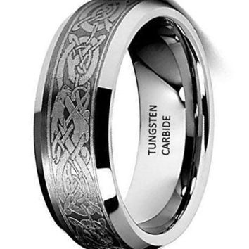 CERTIFIED 8mm Flat Celtic Dragon Pattern Tungsten Wedding Band