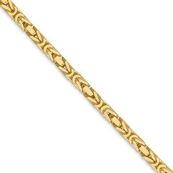 3.25mm, 14k Yellow Gold, Solid Byzantine Chain Necklace