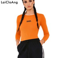 LaiCloAng BABE Letter Embroidery Sexy Bodysuit Jumpsuit Autumn Winter Long Sleeve Casual Women Rompers Cotton Women Bodysuit