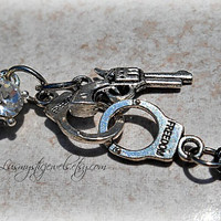 Gun and Cuffs Belly Ring, Hipster, Ready to Ship, Direct checkout